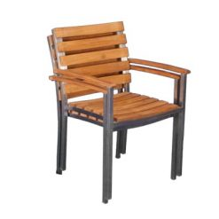 Teak and Stainless Steel Stackable Dining Chairs