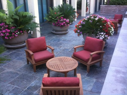 Teak Deep Seating Club Chairs with Round Coffee Table