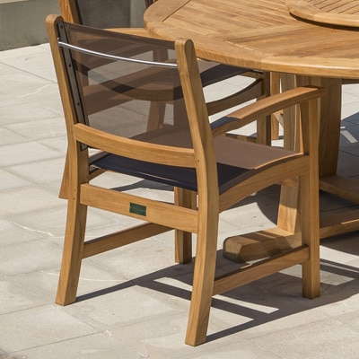 Outdoor Teak and sling dining arm chair