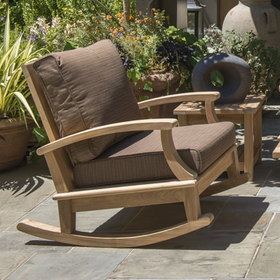 Teak Deep Seating Rocking Chair