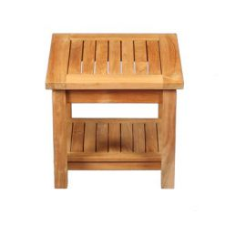 "Teak 20""square two level side table"