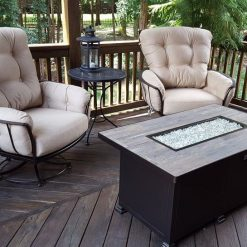 OW Lee Santorini Rectangle Fire PIt, Chairs - Patio