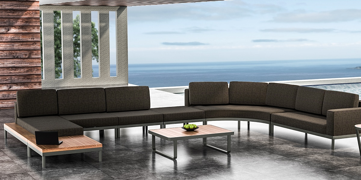 Lisse Connected Sofa, Grey Cushion - Waterside
