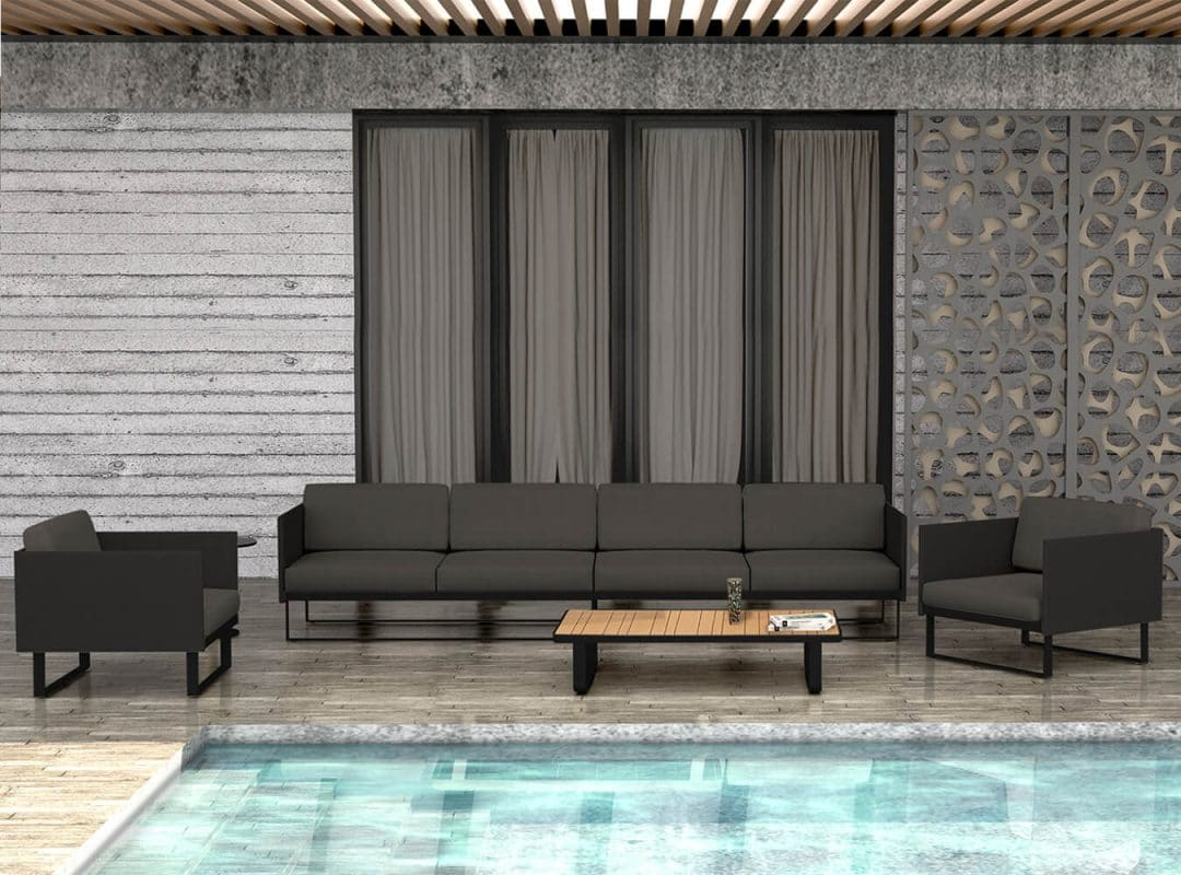 Suave Seating Set, Grey Cushion - Poolside