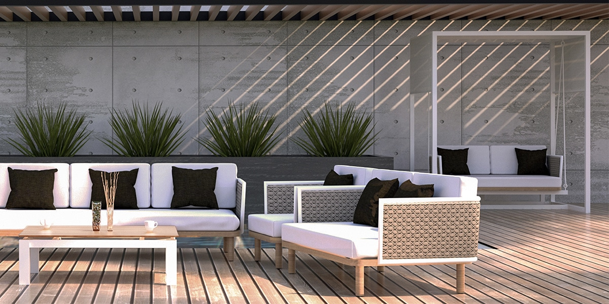 Corda Sofa, Outdoor Seating Set - White