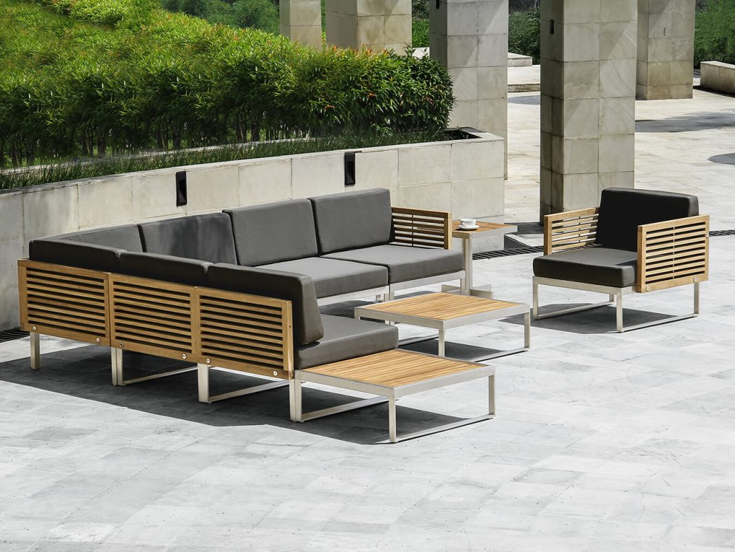 Teak and Aluminum Outdoor Seating Set, Grey Cushion