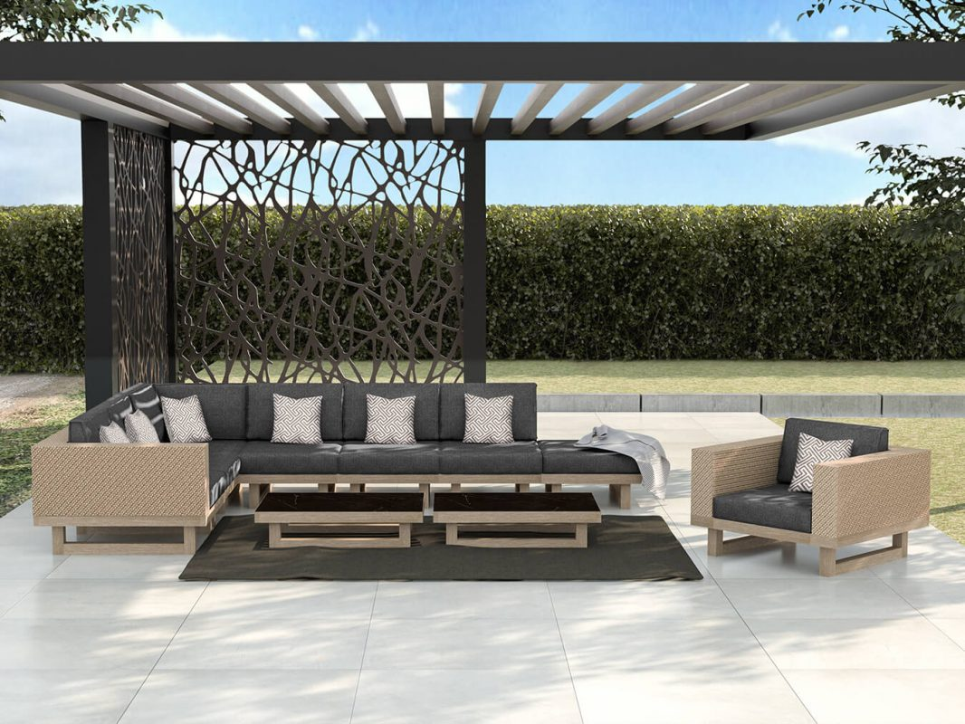 Modern Sofa and Pergola, Residential Grade - Grey
