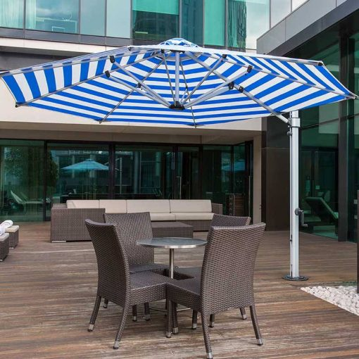Aurora Octagon Cantilever Umbrella, Commercial Grade - Blue Stripe