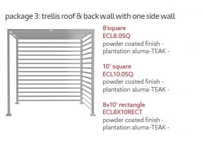 Tuuci Eclipse-Trellis Roof One Side Wall Package - Silver