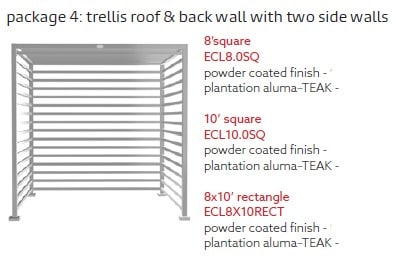 Tuuci Eclipse Trellis Roof Two Sided - Silver Dimensions